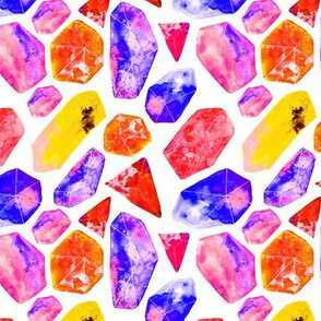 Magic rainbow crystals || watercolor colorful gems