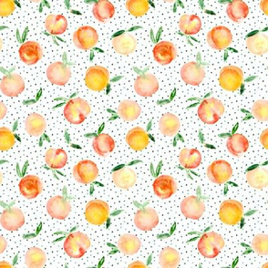 Peachy summer • watercolor peach pattern with polka dot, small scale