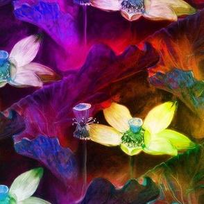 LOTUS FLOWERS DIAGONAL fuchsia red CHALK PASTEL DRAWING