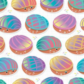 Kawaii Mexican conchas // small scale // white background rainbow colors pan dulce shells