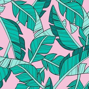 banana leaves - pink, small