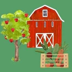 Red Barn and Apple Tree