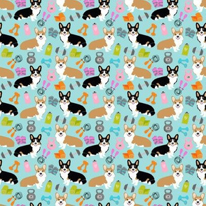 TINY - corgi workout fitness fabric cute dumbbells and kettlebells dog fabric best dogs design