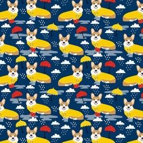 TINY  - corgi rain day spring showers fabric cute corgis in rainboots fabric