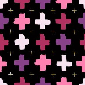 Pink and purple crosses - black