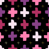 Pink and purple crosses - black