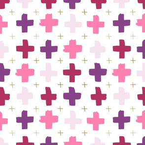 Pink and purple crosses - white