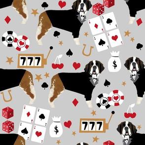 LARGE saint bernard casino fabric - dog fabric, saint bernard fabric, dogs fabric, poker fabric - grey