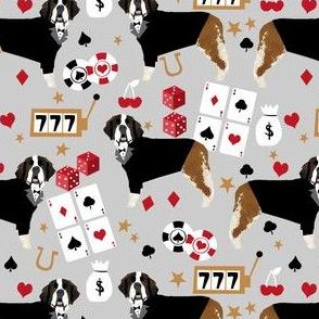 saint bernard casino fabric - dog fabric, saint bernard fabric, dogs fabric, poker fabric - grey