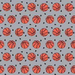 small - basketball fabric // sports basketball themed fabric - grey
