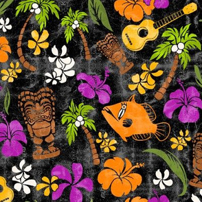 Hawaiian Tiki Beach Tropical Micro Print - Black and Orchid colorway