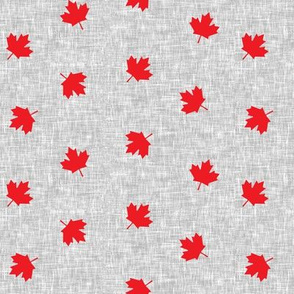 Maple leaves - red on grey - LAD19