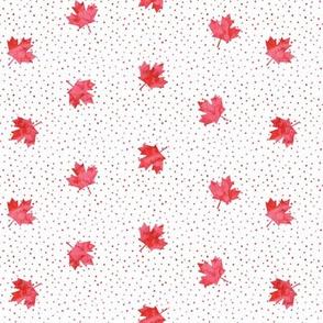 Maple leaves - red polka - LAD19