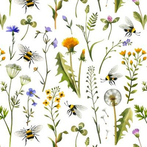 bees and wildflowers - white, small
