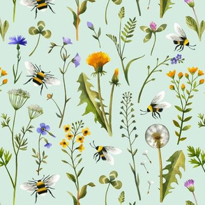 bees and wildflowers - mint, small