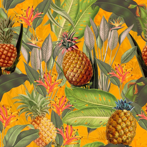 Fruit Cocktail - Vintage Tropical Palm Jungle,  flower Pineapple fabric, Palm fabric,vintage hawaiian fabric on sunny yellow
