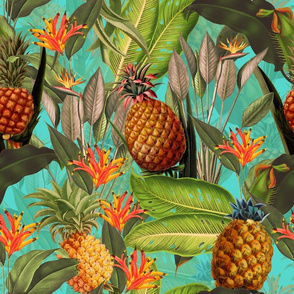 Fruit Cocktail - Vintage Tropical Palm Jungle,  Pineapple fabric, Palm fabric,vintage hawaiian fabric on teal