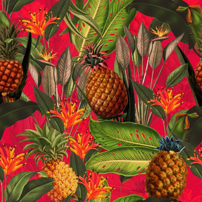 Fruit Cocktail - Vintage Tropical Palm Jungle, flower Pineapple fabric, Palm fabric,vintage hawaiian fabric on fiery red