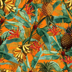 Fruit Cocktail - Vintage Tropical Palm Jungle, Banana Pineapple fabric, Palm fabric,vintage hawaiian fabric on sunny yellow