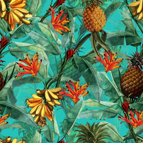 Fruit Cocktail - Vintage Tropical Palm Jungle, Banana Pineapple fabric, Palm fabric,vintage hawaiian fabric on teal