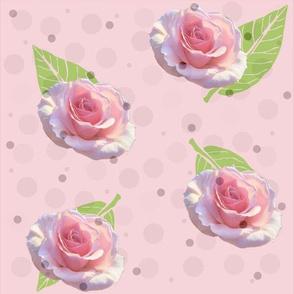 Polka Dots and Roses - pink, large