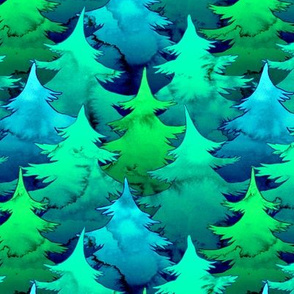 Dense Watercolor Pines in Blues and Green