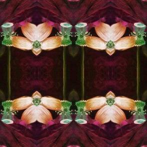 LOTUS ORCHID GEOMETRY ART NOUVEAU BROWN RED ORANGE