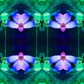 LOTUS ORCHID GEOMETRY art nouveau art deco MINT PURPLE GREEN