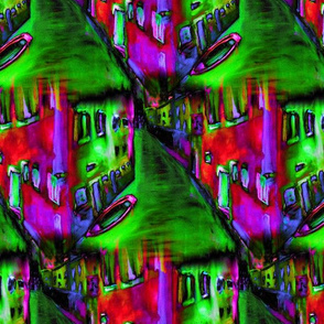 VENICE PSYCHEDELIC REFLECTIONS FUCHSIA RED PURPLE GREEN