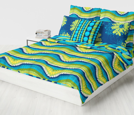Roller Coaster Psychedelic Abstract Stripes - Cool Colorway