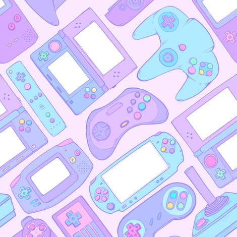 Video Game Controllers in Pastel Colors 2X fabric by spookishdelight on Spoonflower - custom fabric