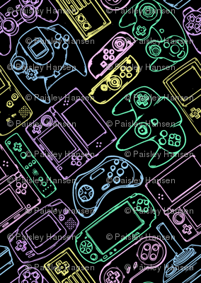 Video Game Controllers in Neon Colors 2X