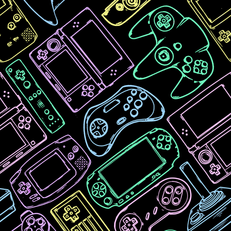 Video Game Controllers in Neon Colors 2X fabric by spookishdelight on Spoonflower - custom fabric