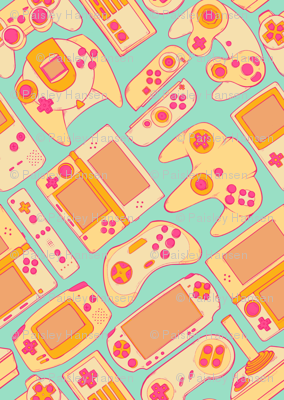 Video Game Controllers in Retro Colors 2X
