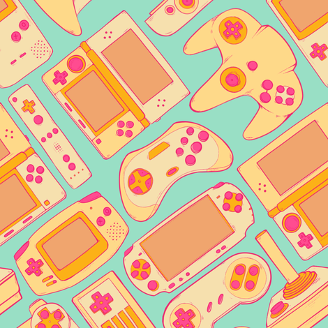 Video Game Controllers in Retro Colors 2X fabric by spookishdelight on Spoonflower - custom fabric