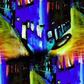 VENICE REFLECTIONS PSYCHEDELIC NIGHT BLUE PURPLE GREEN