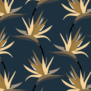 Bird of Paradise Tropical Flowers - navy and cream