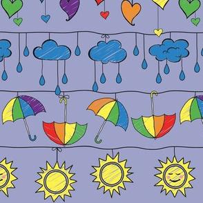 Rainy Day Rainbows on Violet