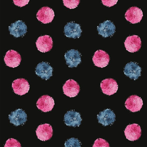 pom pom in watercolor design by #Mahsawatercolor - black background