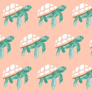 Baby sea turtles on peach