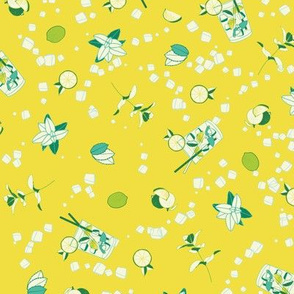 mojito ditsy on yellow