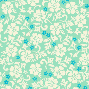 Hawaiian Hibiscus Floral - Mint Green