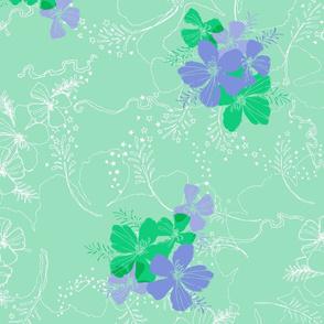 Hawaiian Garden Floral - Mint Green