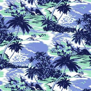 Hawaiian Island Scenic- Mint and Periwinkle