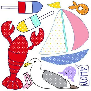 Nautical Friends Applique Cut and Sew Sailboat Lobster Seagull Fish Ahoy
