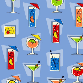Tropical Drinks Retro Hawaiian - Blue