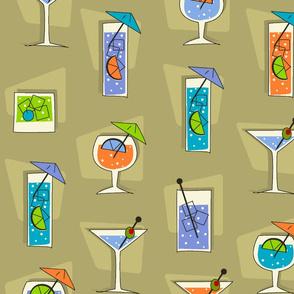 Tropical Drinks Retro Hawaiian -Khaki
