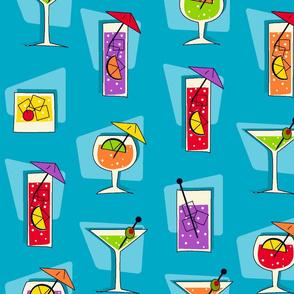Tropical Drinks Retro Hawaiian - Turquoise