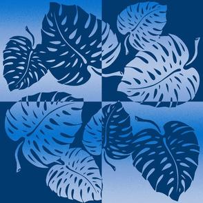 Monstera Leaf Tropical Hawaiian Striped Blend - Blue