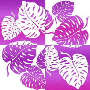 Monstera Leaf Tropical Hawaiian Striped Blend - Fuchsia